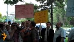 Protesta e gazetarëve në Shkup
