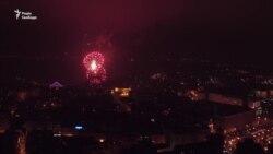 Новорічна ніч. Київ з висоти пташиного польоту (відео)