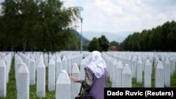 Gravestones at the Srebrenica Genocide Memorial in Potocari.