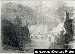 მცხეთის ხიდი მდინარე მტკვარზე. ჩანახატი 1825 წ.