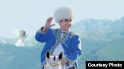 Turkmenistan -- Photo from Ahalteke magazine of Turkmen president Gurbanguly Berdymukhammedov with Akhalteke horse.