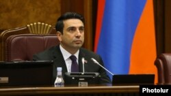 Armenia - Newly elected speaker Alen Simonian chairs a session of the National Assembly, Yerevan, August 3, 2021.