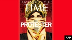 """U.S. -- TIME Magazine shows the December 26, 2011/January 2, 2012 issue featuring """"The Protester,"""" who was named TIME's Person of the Year, 14Dec2011"""