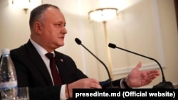 Moldovan President Igor Dodon holds a year-end press conference in Chisinau last month.