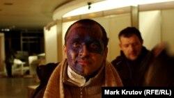 """Один из протестующих в здании """"Украинского дома"""""""
