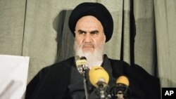 Ayatollah Khomeini at a news conference in Tehran on February 5, 1979