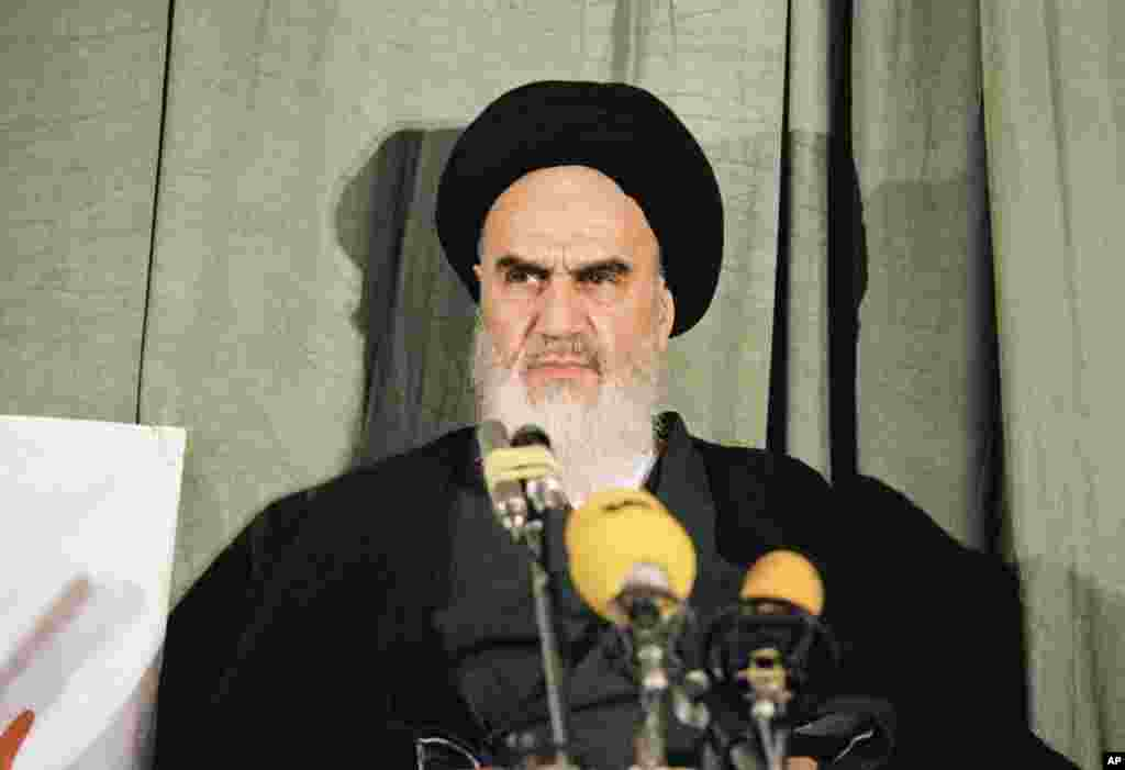 Khomeini holds a news conference in Tehran on February 5, 1979.