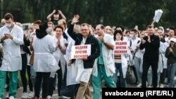 Акцыя салідарнасьці мэдыкаў у Віцебску, жнівень 2020 году
