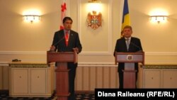 Georgian President Mikheil Saakashvili (left) with Moldovan acting President Mihai Ghimpu in Chisinau on November 24
