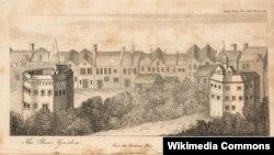"""Фрагмент панорамы Лондона, выполненной голландским гравером Клаэсом Янсоном Висшером. Справа – театр """"Глобус"""", слева – """"Медвежий сад"""", арена для травли медведей. 1616"""