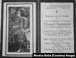 Eduard Stegmann, prizonier german mort la Șipote, februarie 1917