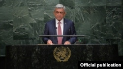 U.S. - Armenia President Serzh Sarkisian addresses the UN General Assembly session in New York, 29Sep2015