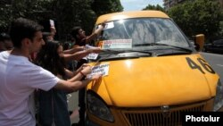 Armenia -- Youth activists campaign against a rise in public transport fares Yerevan, 20Jul2013.
