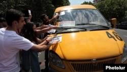 Armenia - Youth activists protest against rises in public transport price fares, Yerevan, 20Jul2013