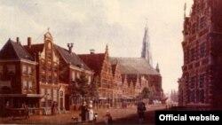 Pamje e qytetit Horn në Holandë në një pikturë