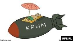 Rusiyanın Krım planları Ukrayna rəssamı Yevgeni Oleynikin karikaturasında