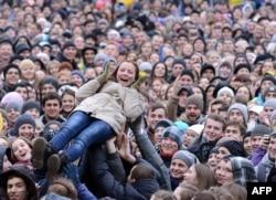 Студенти під час протесту у Львові. 28 листопада 2013 року