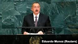 Президент Азербайджана Ильхам Алиев выступает на сессии Генассамблеи ООН, Нью-Йорк, 20 сентября 2017 г.