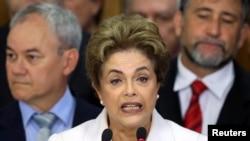 Временно отстраненная от власти президент Бразилии Дилма Русеф.