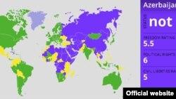 Freedom House түзгөн эркиндиктин картасы. 19-январь, 2012.