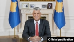 Kosovar President Hashim Thaci delivers a televised address to the nation on June 29.