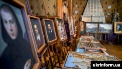 Stolen paintings rescued by Ukrainian law enforcement and border guards during the ceremony of their transfer to Italy at the premises of the Bogdan and Varvara Khanenkov National Museum of Arts.