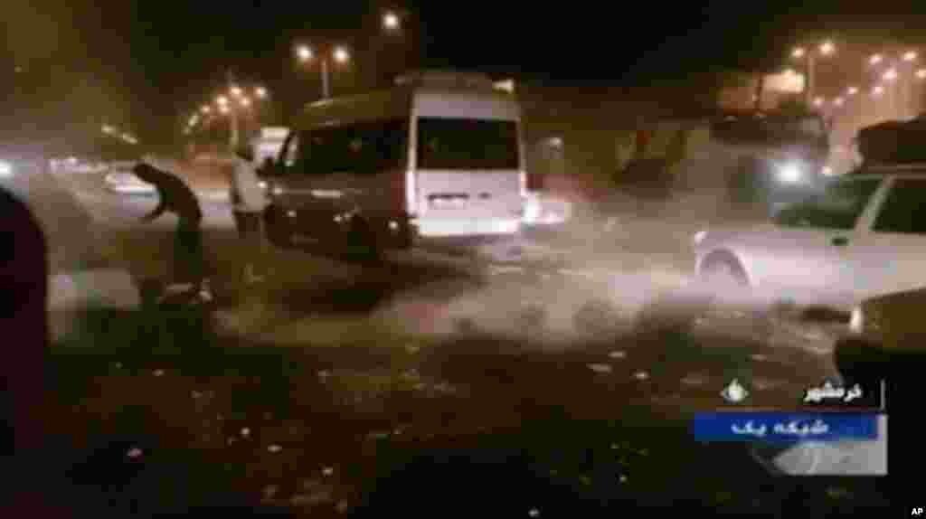 نمایی از اعتراضات در خرمشهر