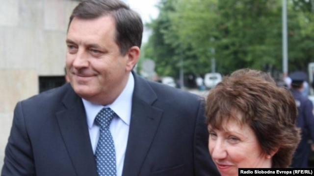 Republika Srpska President Milorad Dodik (left) with EU foreign policy chief, Catherine Ashton, in May.