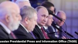 Президент России Владимир Путина на съезде РСПП в феврале 2018 года