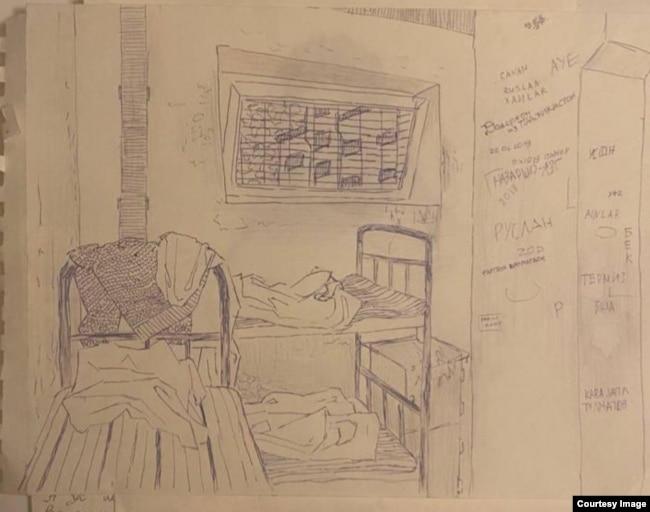 Жизнь заключённых центра в Сахарове. Февраль 2021 года. Рисунок передан в редакцию на условиях анонимности
