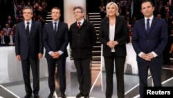 Candidates for the 2017 presidential election in France (left to right): Francois Fillon, Emmanuel Macron, Jean-Luc Melenchon, Marine Le Pen and Benoit Hamon.