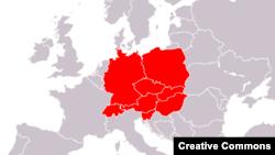 Europa centrlă potrivit definiției from Brockhaus Enzyklopädie, 20. Auflage, Band 14. 1998