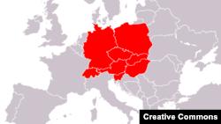 Harta Europei centrele potrivit definiției din Brockhaus Enzyklopädie, 1998.