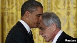 Presidenti i SHBA-ve Barack Obama dhe ish senatori Chuck Hagel, Uashington, 07Janara, 2013
