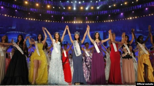 Finalists in the 2012 Miss World beauty pageant at the event in Ordos City, China in 2012.