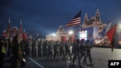 U.S. soldiers march during a parade rehearsal on Red Square.