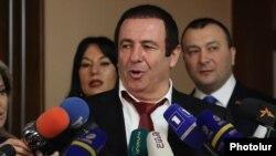 Armenia - Prosperous Armenia Party leader Gagik Tsarukian speaks to journalists in Yerevan, February 12, 2019.