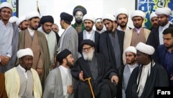 A group of Al-Mostafa seminary students in Mashhad.