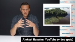 A screen grab from a video published by Russian anticorrupution campaigner Aleksei Navalny alleging that President Vladimir Putin has availed himself of a secret dacha on a tiny secluded island