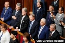 Українські президенти Петро Порошенко(другий зліва), Віктор Ющенко, Леонід Кучма та Леонід Кравчук. Архівне фото