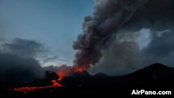 An AirPano.com image of the Plosky Tolbachik volcano eruption in Russia's Far East.