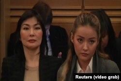 Алма Шалабаева, жена Мухтара Аблязова, с дочерью Мадиной Аблязовой на суде во Франции. 9 января 2014 года.