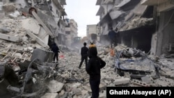 Pamje nga një zonë e shkatërruar e provincës Idlib.