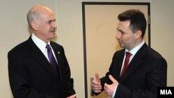 Премиерот Никола Груевски на една од средбите со поранешниот грчки премиер Јоргос Папанреду во Брисел.