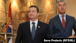 Premijeri Srbije i Crne Gore, Ivica Dačić i Milo Đukanović. tokom posjete Podgorici 20. septembra 2013.
