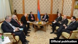 Armenia - President Serzh Sarkisian meets with the visiting co-chairs of the OSCE Minsk Group, Yerevan, 23Nov212.