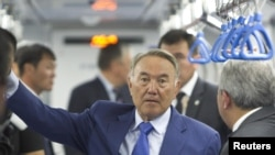 Kazakhstan President Nursultan Nazarbaev during a visit to the Almaty subway in early August.
