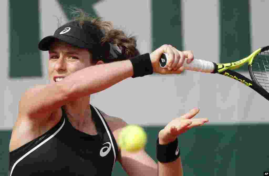Қазақстан теннисшісі бірінші айналымда әлемнің 10-ракеткасы бұританиялық Джоанна Контаны (суретте), екінші айналымда америкалық Дженифер Брэдиді (86) жеңген. Париж, 27 мамыр 2018 жыл.