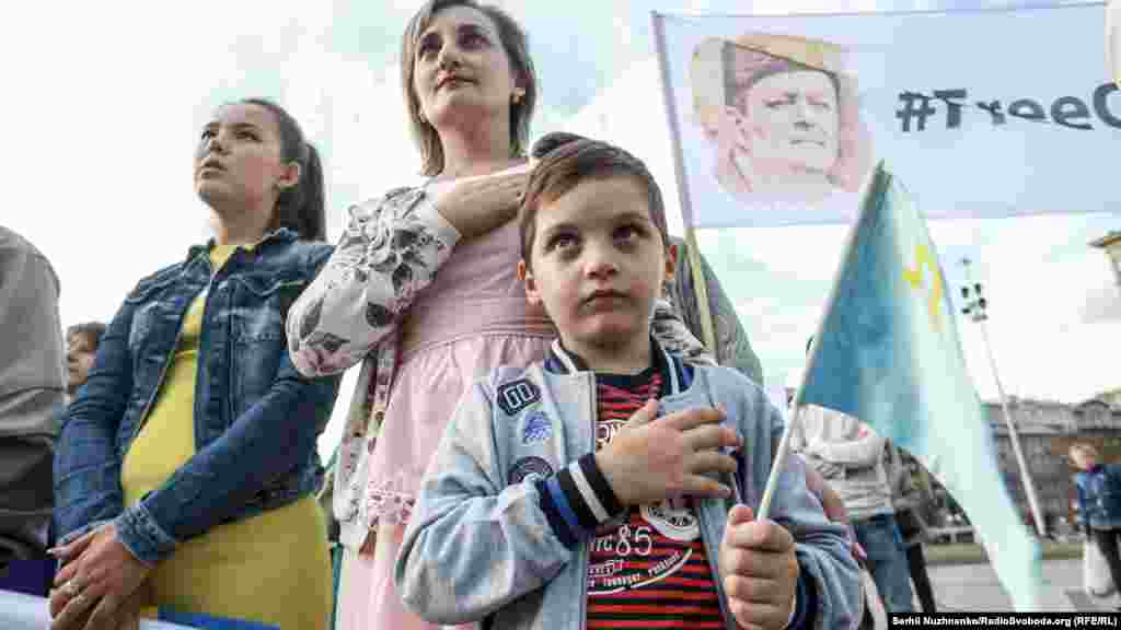 A young supporter of Akhtem Chiygoz. The majority of Crimean Tatars oppose Russia's takeover of their historic homeland.