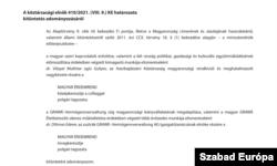 Részlet a 2021/151-es Magyar Közlönyből.